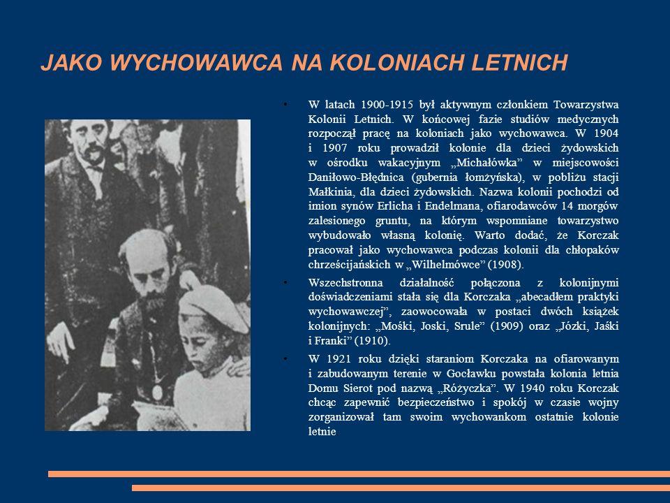 JAKO WYCHOWAWCA NA KOLONIACH LETNICH W latach 1900-1915 był aktywnym członkiem Towarzystwa Kolonii Letnich.