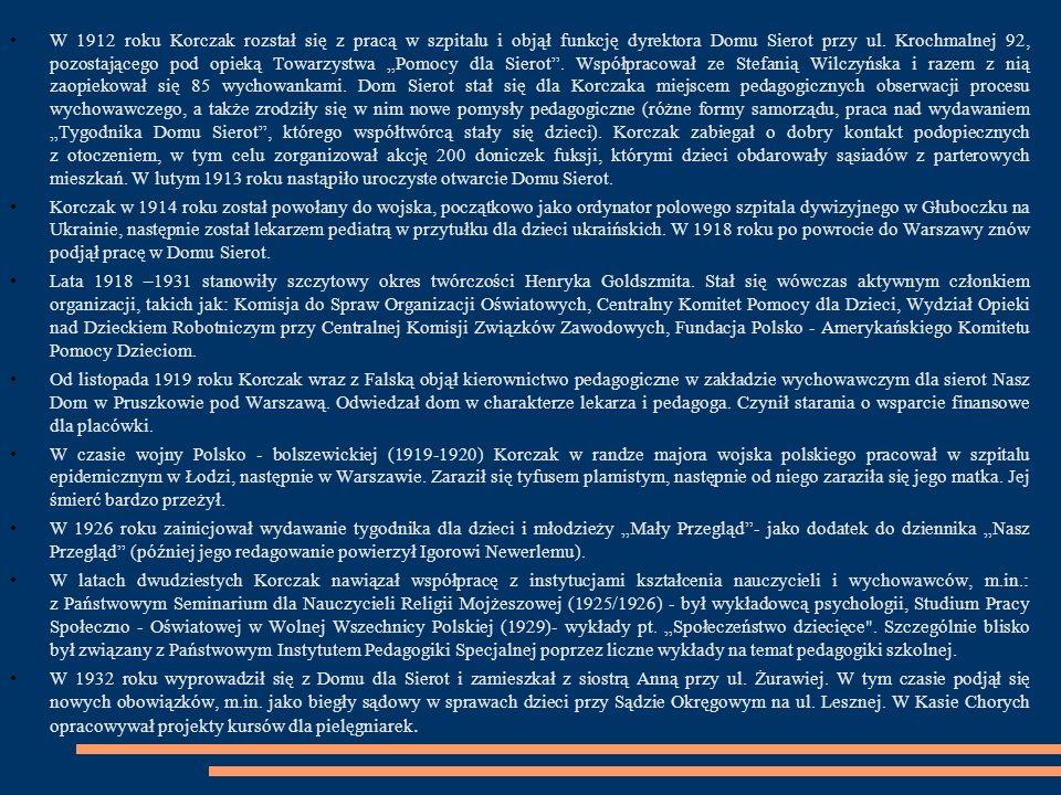 """Bibliografia: Olczak-Ronikier Joanna,,Korczak-Próba biografii , WAB 2011 Ostrowicka Beata:""""Jest taka historia -Opowieść o Januszu Korczaku , Wyd.Literatura 2012 Wróblewski Michał""""Z Korczakiem przez życie ,Wyd."""