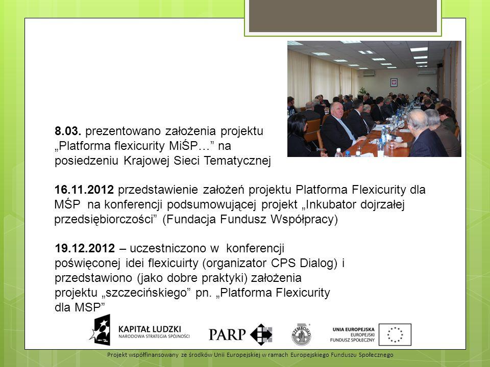 """8.03. prezentowano założenia projektu """"Platforma flexicurity MiŚP…"""" na posiedzeniu Krajowej Sieci Tematycznej 19.12.2012 – uczestniczono w konferencji"""