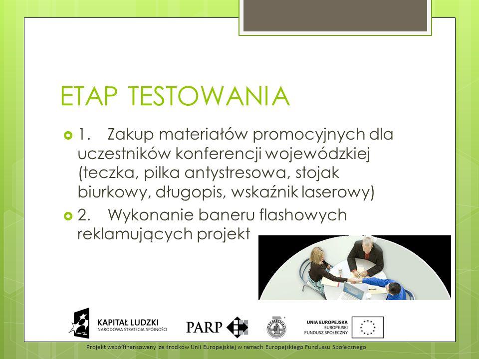 ETAP TESTOWANIA  1.Zakup materiałów promocyjnych dla uczestników konferencji wojewódzkiej (teczka, pilka antystresowa, stojak biurkowy, długopis, wskaźnik laserowy)  2.Wykonanie baneru flashowych reklamujących projekt Projekt współfinansowany ze środków Unii Europejskiej w ramach Europejskiego Funduszu Społecznego