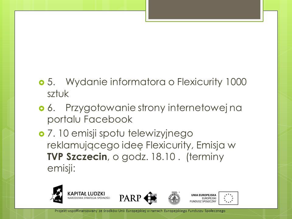  5.Wydanie informatora o Flexicurity 1000 sztuk  6.Przygotowanie strony internetowej na portalu Facebook  7. 10 emisji spotu telewizyjnego reklamuj