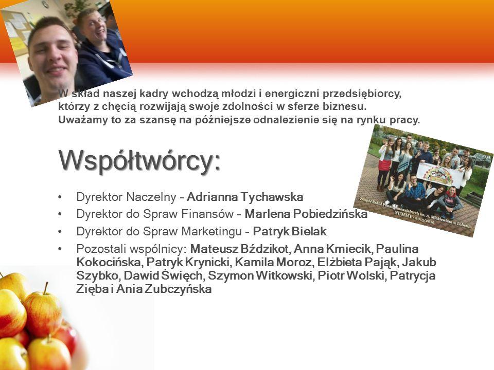 Współtwórcy: Dyrektor Naczelny – Adrianna Tychawska Dyrektor do Spraw Finansów – Marlena Pobiedzińska Dyrektor do Spraw Marketingu – Patryk Bielak Poz