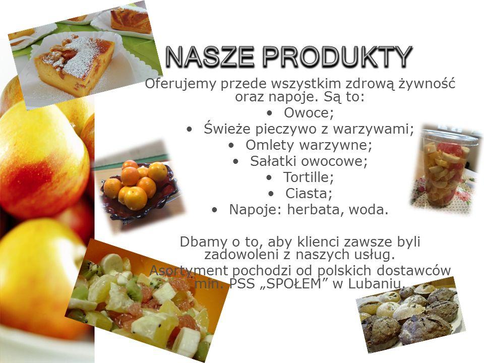 Oferujemy przede wszystkim zdrową żywność oraz napoje. Są to: Owoce; Świeże pieczywo z warzywami; Omlety warzywne; Sałatki owocowe; Tortille; Ciasta;