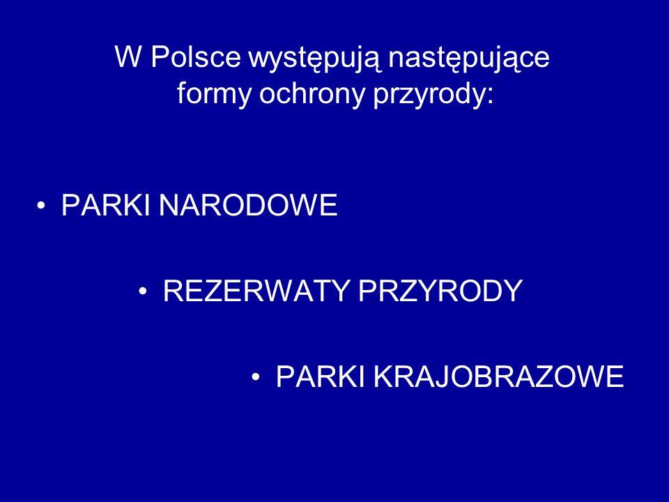 PARKI NARODOWE REZERWATY PRZYRODY PARKI KRAJOBRAZOWE W Polsce występują następujące formy ochrony przyrody: