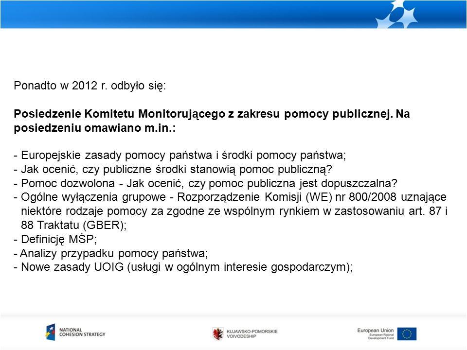 Ponadto w 2012 r. odbyło się: Posiedzenie Komitetu Monitorującego z zakresu pomocy publicznej.
