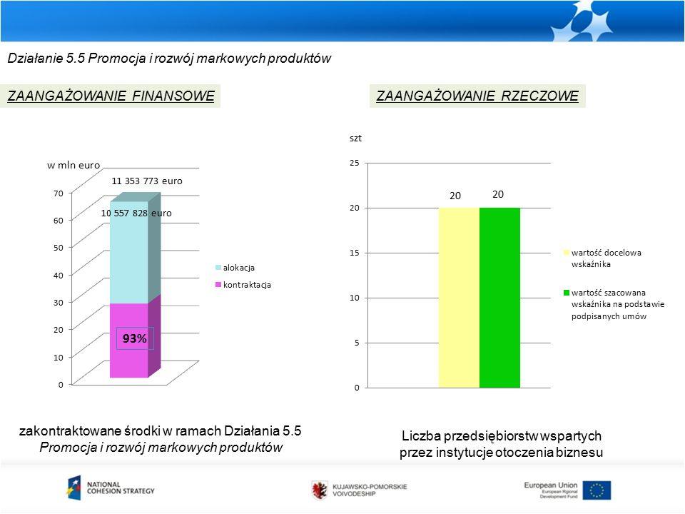Działanie 5.5 Promocja i rozwój markowych produktów zakontraktowane środki w ramach Działania 5.5 Promocja i rozwój markowych produktów ZAANGAŻOWANIE FINANSOWEZAANGAŻOWANIE RZECZOWE w mln euro Liczba przedsiębiorstw wspartych przez instytucje otoczenia biznesu szt 93% 10 557 828 euro 11 353 773 euro
