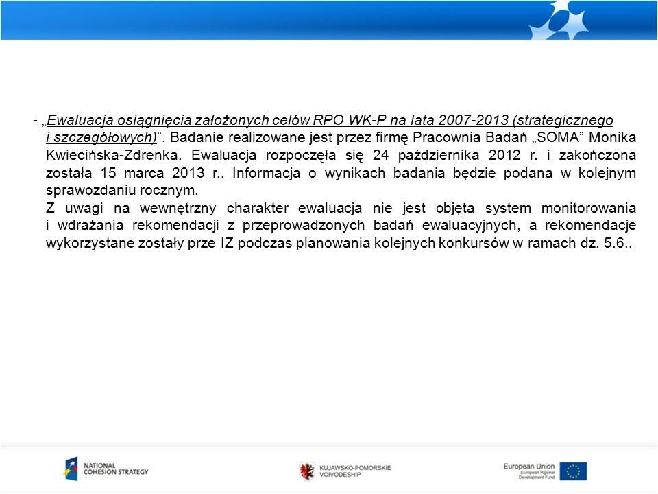 """- """"Ewaluacja osiągnięcia założonych celów RPO WK-P na lata 2007-2013 (strategicznego i szczegółowych) ."""