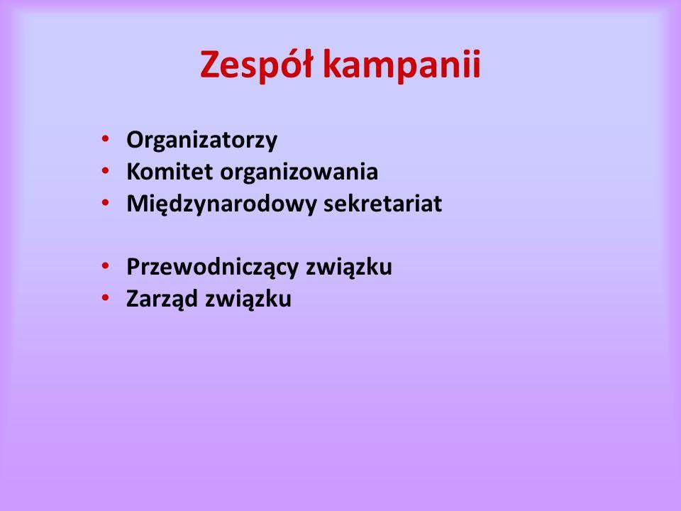 Zespół kampanii Organizatorzy Komitet organizowania Międzynarodowy sekretariat Przewodniczący związku Zarząd związku