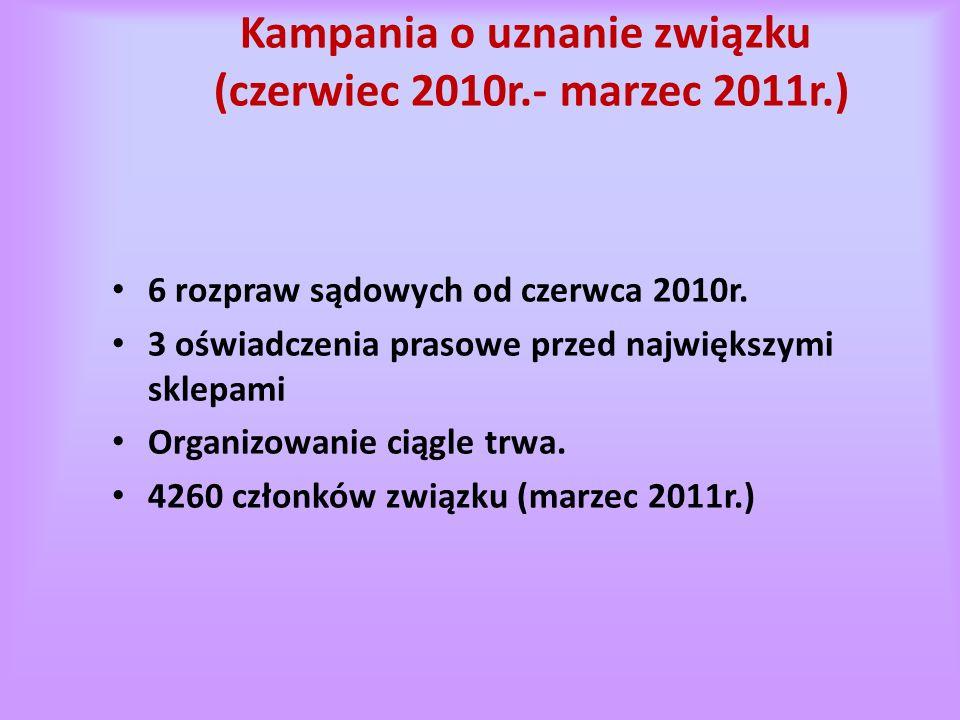 Kampania o uznanie związku (czerwiec 2010r.- marzec 2011r.) 6 rozpraw sądowych od czerwca 2010r.