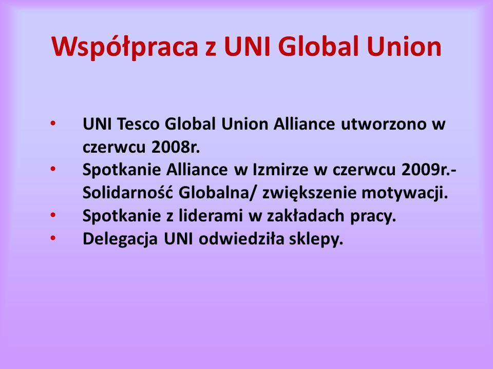 Współpraca z UNI Global Union UNI Tesco Global Union Alliance utworzono w czerwcu 2008r.