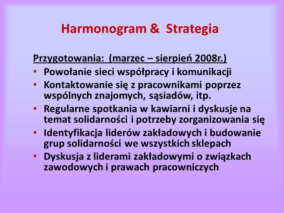 Harmonogram & Strategia Przygotowania: (marzec – sierpień 2008r.) Powołanie sieci współpracy i komunikacji Kontaktowanie się z pracownikami poprzez wspólnych znajomych, sąsiadów, itp.