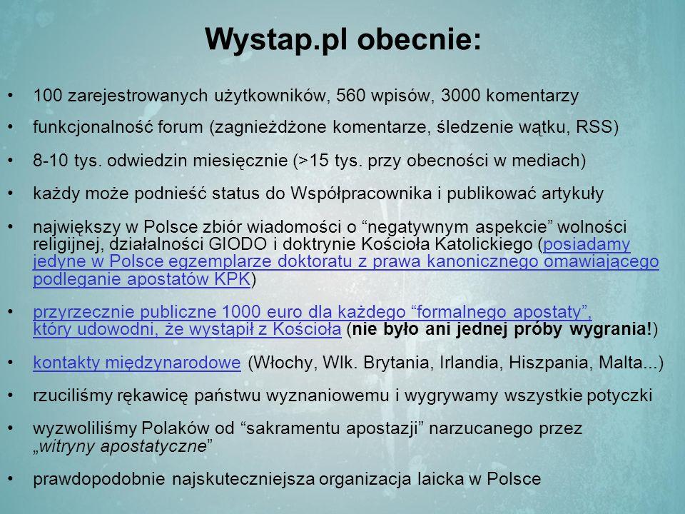 Wystap.pl obecnie: 100 zarejestrowanych użytkowników, 560 wpisów, 3000 komentarzy funkcjonalność forum (zagnieżdżone komentarze, śledzenie wątku, RSS) 8-10 tys.
