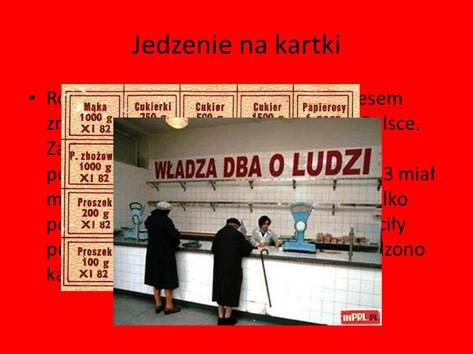 Jedzenie na kartki Rok 1981 jak i lata następne były okresem znaczącego pogłębiania się inflacji w Polsce. Zaczęło przybywać towarów na kartki, podwyż