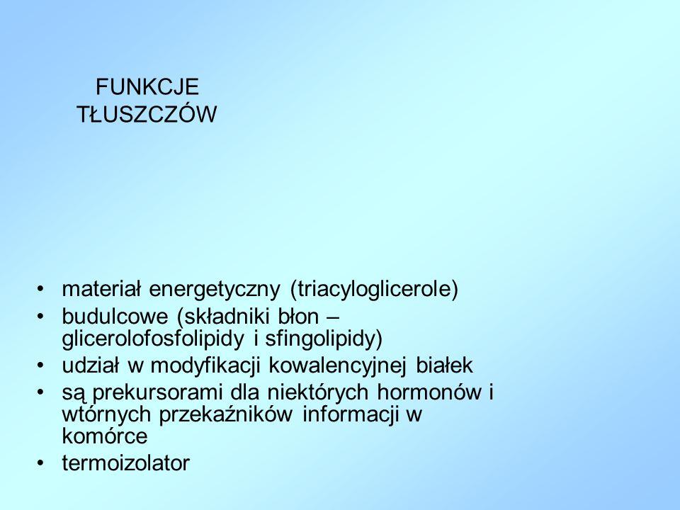 FUNKCJE TŁUSZCZÓW materiał energetyczny (triacyloglicerole) budulcowe (składniki błon – glicerolofosfolipidy i sfingolipidy) udział w modyfikacji kowa