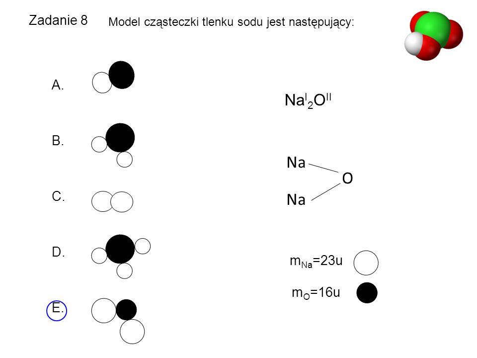 Zadanie 8 Model cząsteczki tlenku sodu jest następujący: A. B. C. D. E. Na I 2 O II O Na m Na =23u m O =16u