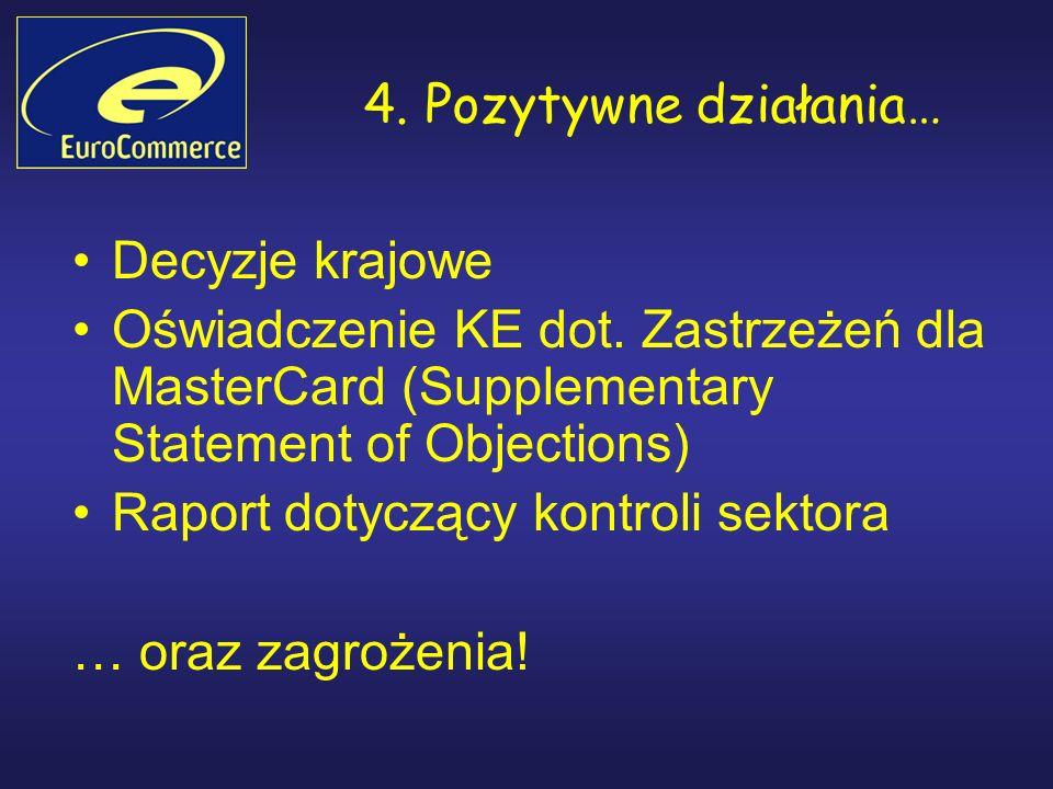 4. Pozytywne działania… Decyzje krajowe Oświadczenie KE dot.