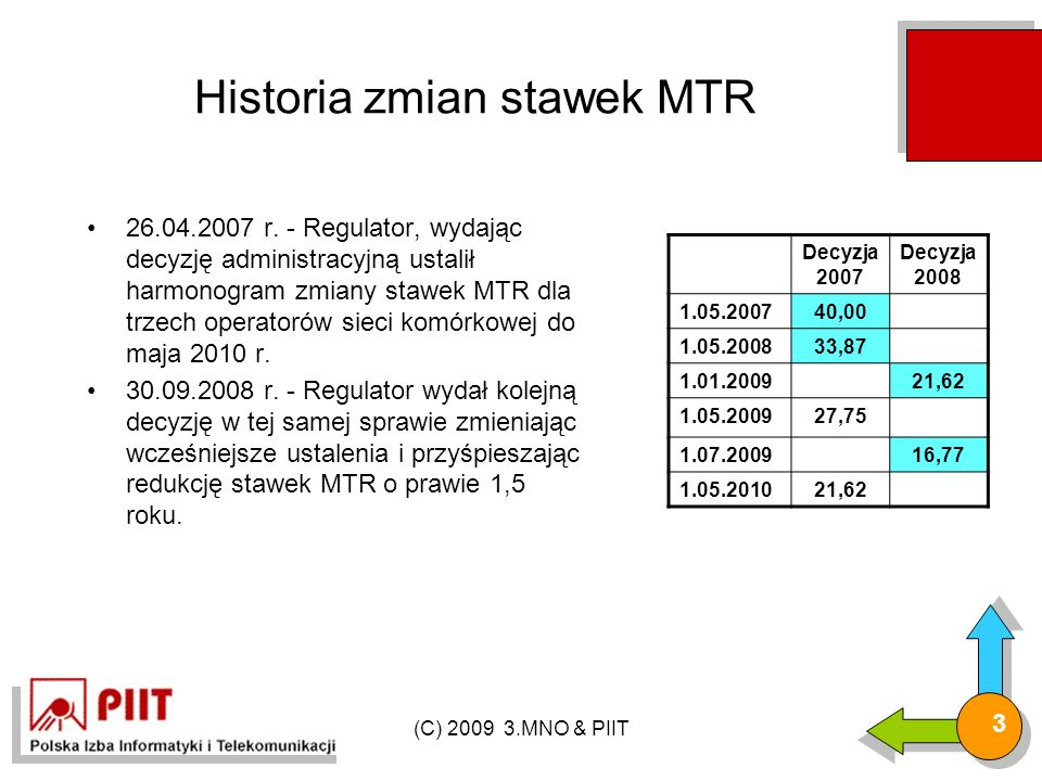 (C) 2009 3.MNO & PIIT 3 Historia zmian stawek MTR 26.04.2007 r.