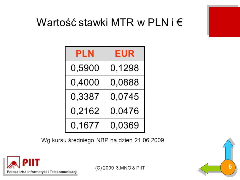 (C) 2009 3.MNO & PIIT 5 Wartość stawki MTR w PLN i € PLNEUR 0,59000,1298 0,40000,0888 0,33870,0745 0,21620,0476 0,16770,0369 Wg kursu średniego NBP na dzień 21.06.2009