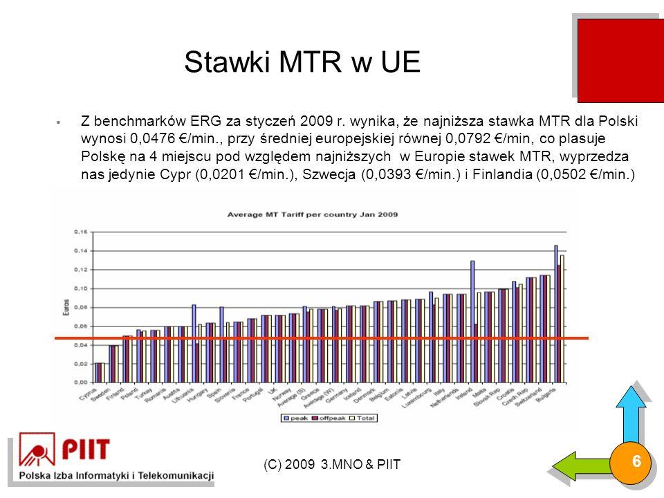(C) 2009 3.MNO & PIIT 6 Stawki MTR w UE  Z benchmarków ERG za styczeń 2009 r.