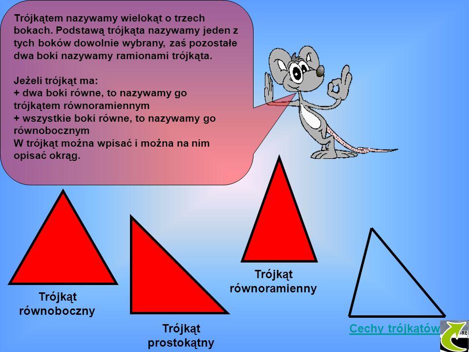 Trójkątem nazywamy wielokąt o trzech bokach. Podstawą trójkąta nazywamy jeden z tych boków dowolnie wybrany, zaś pozostałe dwa boki nazywamy ramionami