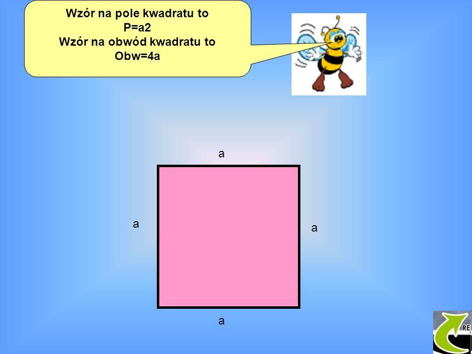 Wzór na pole kwadratu to P=a2 Wzór na obwód kwadratu to Obw=4a a a a a