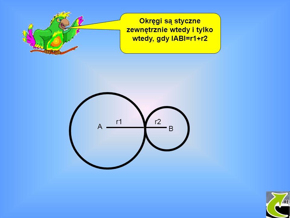 Okręgi są styczne zewnętrznie wtedy i tylko wtedy, gdy IABI=r1+r2 A B r1r2