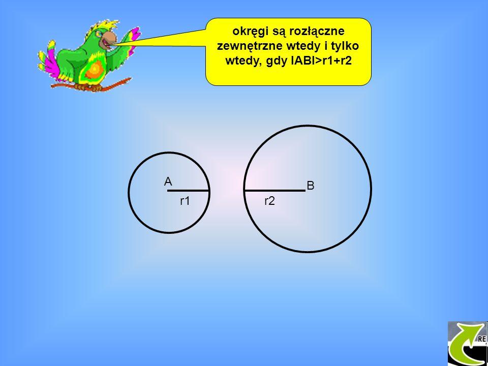 okręgi są rozłączne zewnętrzne wtedy i tylko wtedy, gdy IABI>r1+r2 A B r1r2