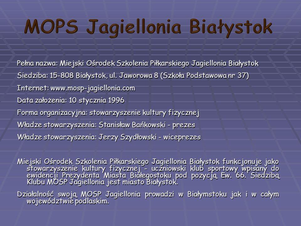 Pełna nazwa: Miejski Ośrodek Szkolenia Piłkarskiego Jagiellonia Białystok Siedziba: 15-808 Białystok, ul.