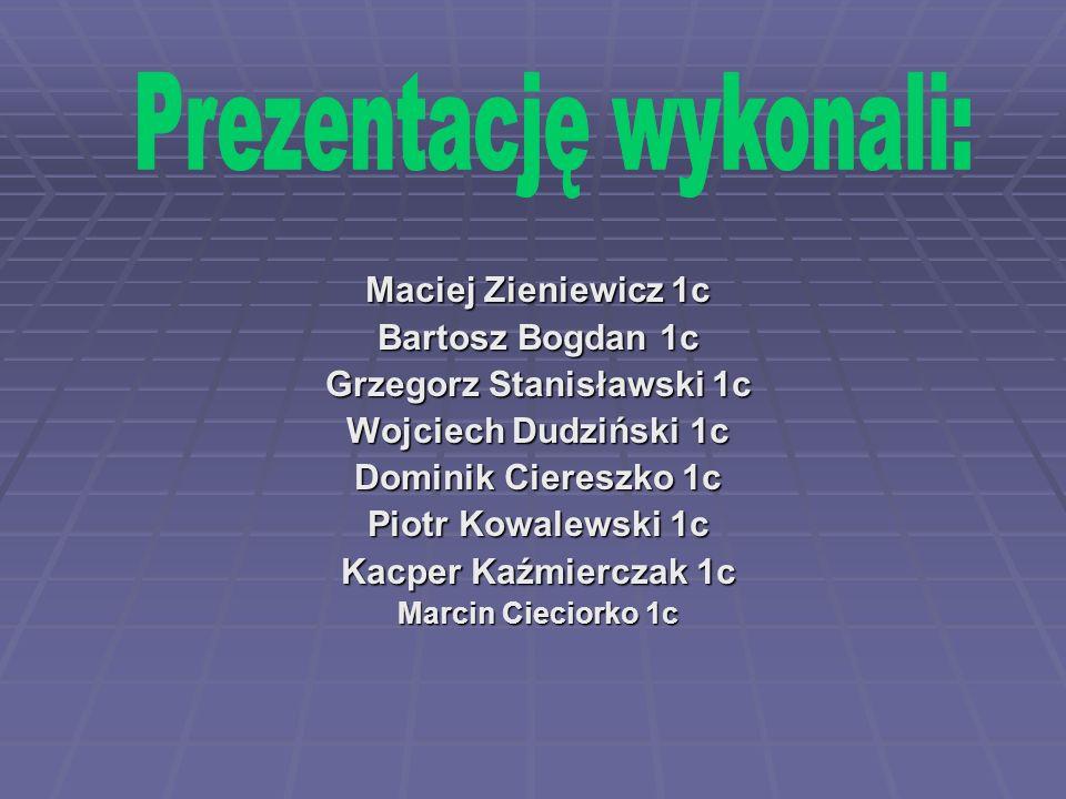 Maciej Zieniewicz 1c Bartosz Bogdan 1c Grzegorz Stanisławski 1c Wojciech Dudziński 1c Dominik Ciereszko 1c Piotr Kowalewski 1c Kacper Kaźmierczak 1c Marcin Cieciorko 1c