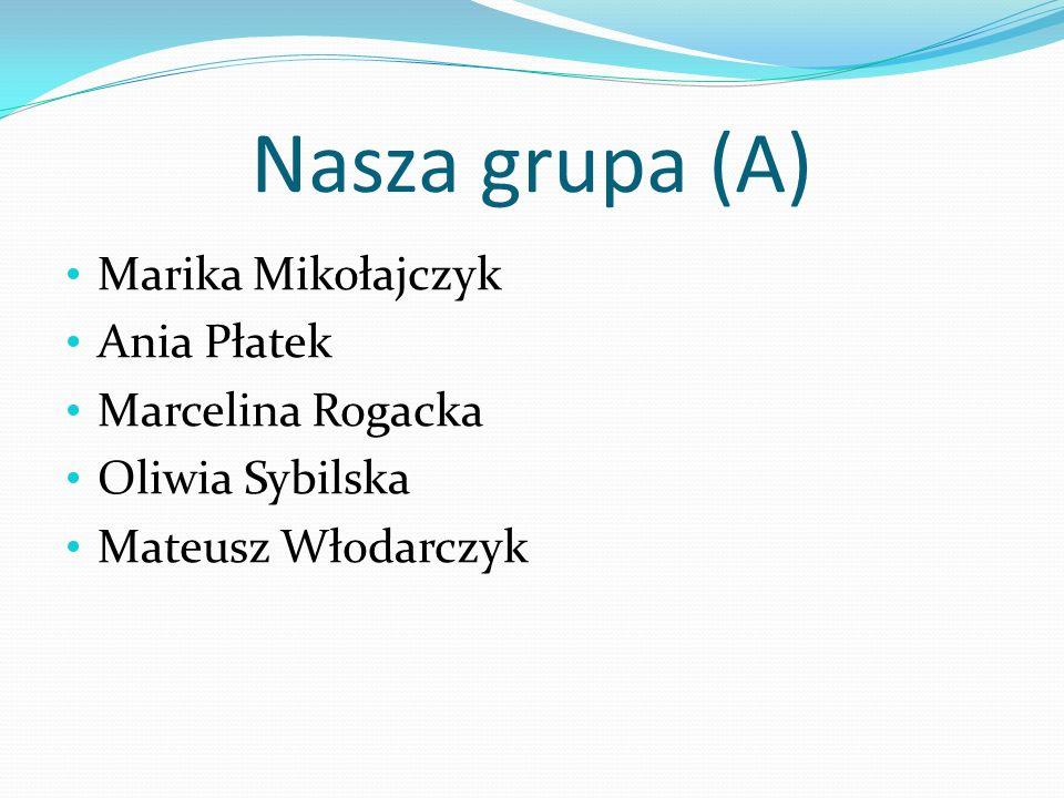 Nasza grupa (A) Marika Mikołajczyk Ania Płatek Marcelina Rogacka Oliwia Sybilska Mateusz Włodarczyk