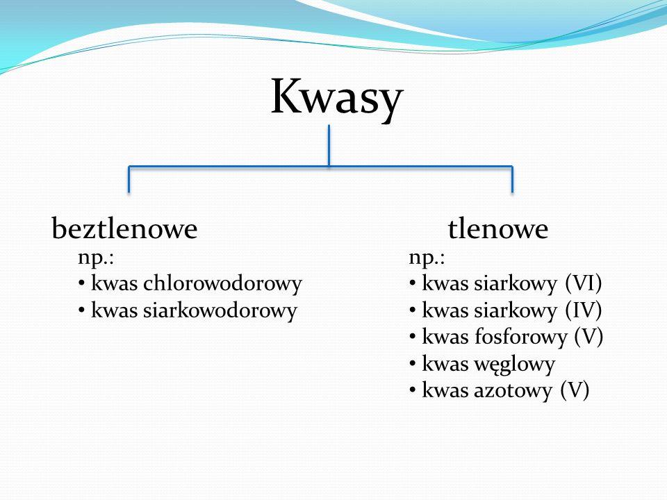 Kwasy beztlenowe tlenowe np.: kwas chlorowodorowy kwas siarkowodorowy np.: kwas siarkowy (VI) kwas siarkowy (IV) kwas fosforowy (V) kwas węglowy kwas azotowy (V)