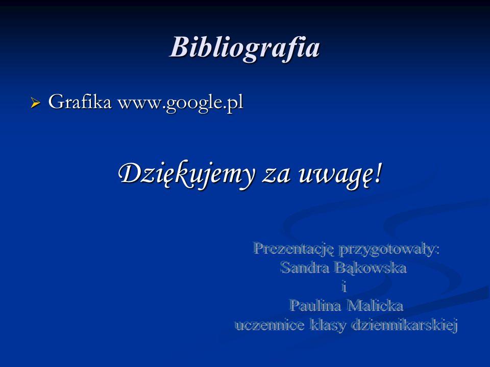 Bibliografia  Grafika www.google.pl Dziękujemy za uwagę! Dziękujemy za uwagę!