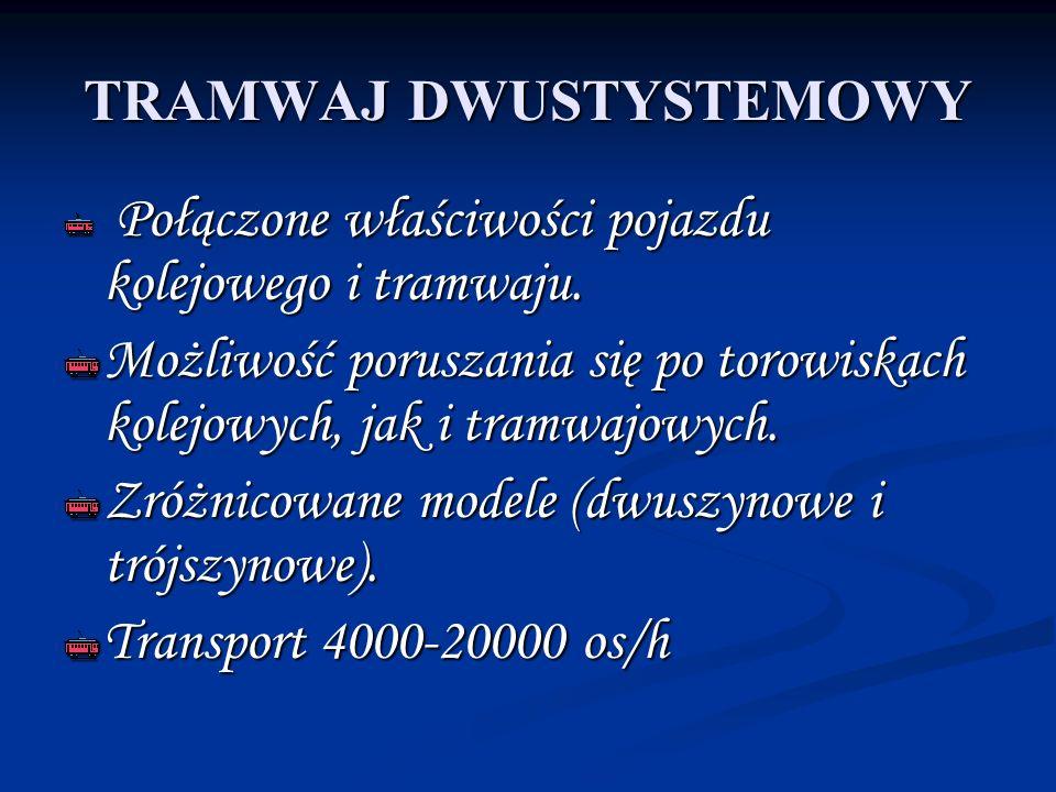 TRAMWAJ DWUSTYSTEMOWY Połączone właściwości pojazdu kolejowego i tramwaju. Połączone właściwości pojazdu kolejowego i tramwaju. Możliwość poruszania s