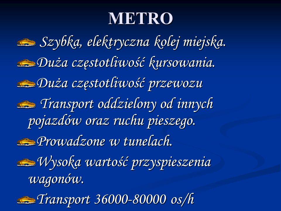 METRO Szybka, elektryczna kolej miejska. Szybka, elektryczna kolej miejska. Duża częstotliwość kursowania. Duża częstotliwość przewozu Transport oddzi