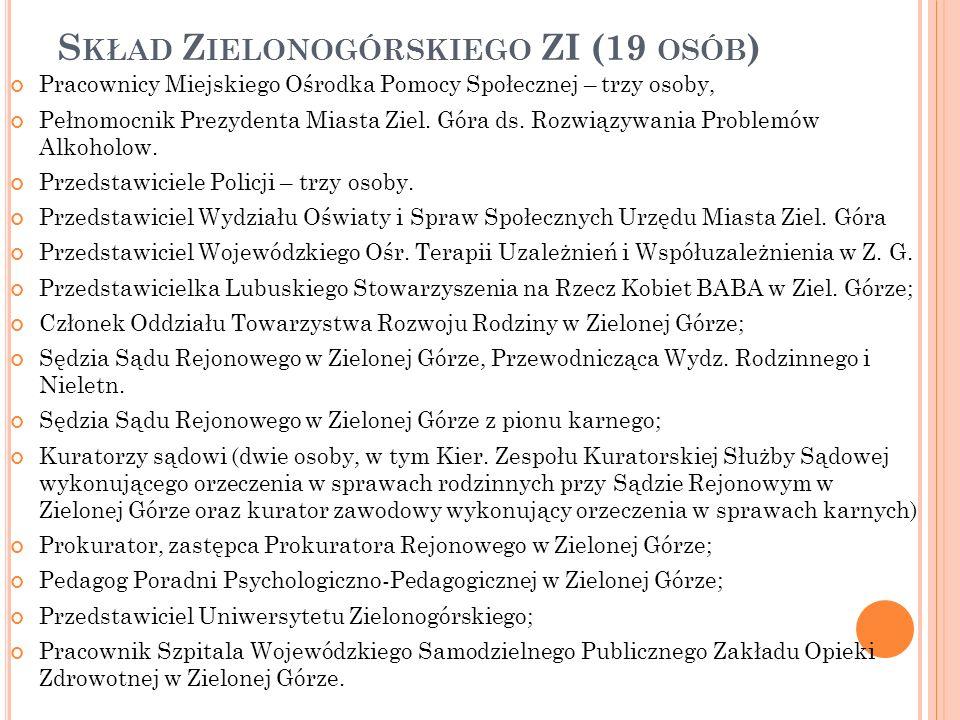 S KŁAD Z IELONOGÓRSKIEGO ZI (19 OSÓB ) Pracownicy Miejskiego Ośrodka Pomocy Społecznej – trzy osoby, Pełnomocnik Prezydenta Miasta Ziel.