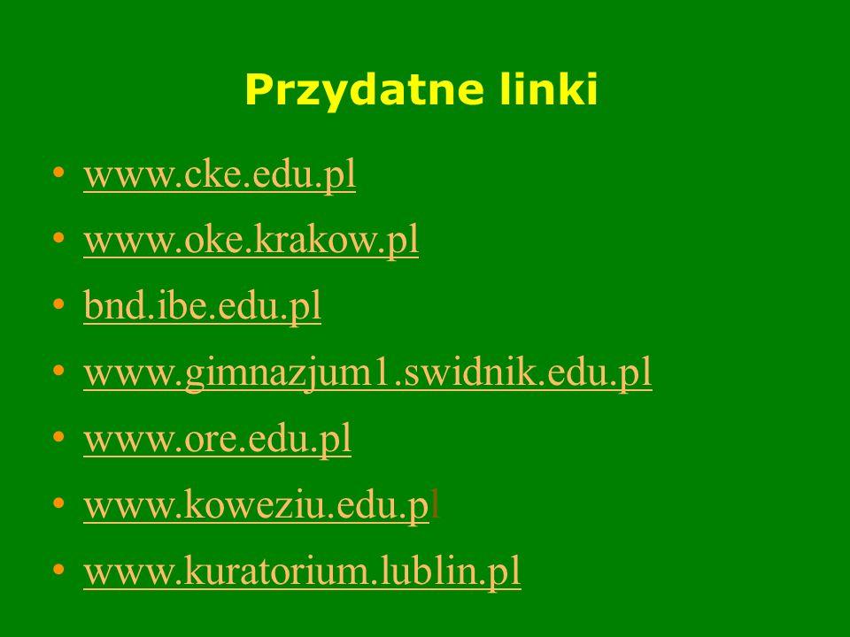 Przydatne linki www.cke.edu.pl www.oke.krakow.pl bnd.ibe.edu.pl www.gimnazjum1.swidnik.edu.pl www.ore.edu.pl www.koweziu.edu.pl www.koweziu.edu.p www.kuratorium.lublin.pl