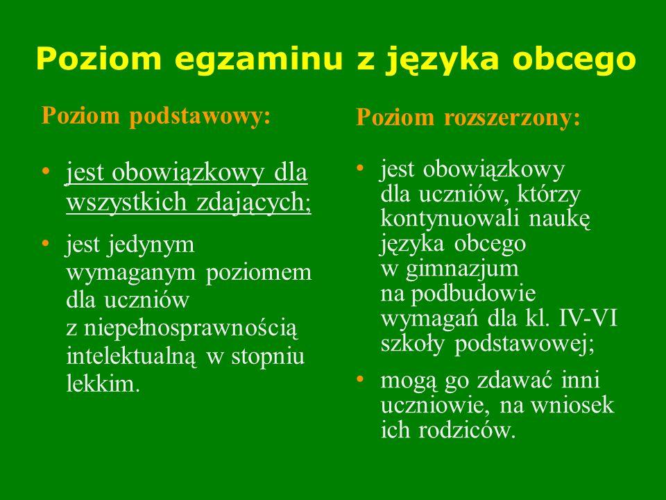 Deklaracja wyboru języka Do 30 września rodzice (prawni opiekunowie) ucznia składają dyrektorowi szkoły pisemną deklarację wskazującą język obcy nowożytny (spośród języków obowiązkowych), z którego uczeń będzie zdawał część trzecią EG.