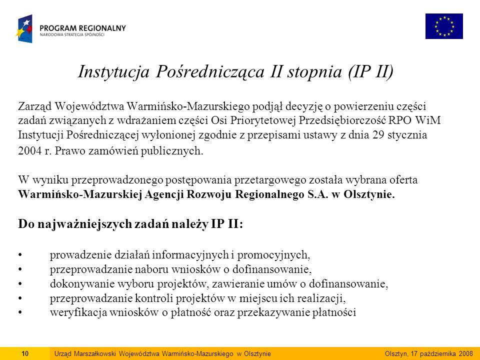 Instytucja Pośrednicząca II stopnia (IP II) Zarząd Województwa Warmińsko-Mazurskiego podjął decyzję o powierzeniu części zadań związanych z wdrażaniem części Osi Priorytetowej Przedsiębiorczość RPO WiM Instytucji Pośredniczącej wyłonionej zgodnie z przepisami ustawy z dnia 29 stycznia 2004 r.