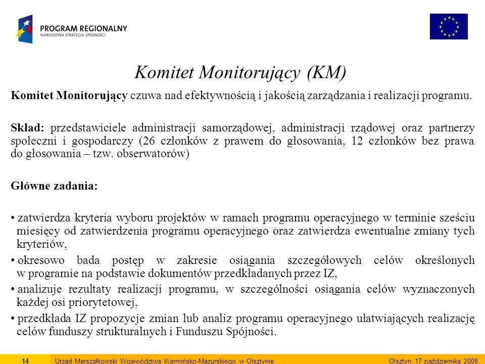Komitet Monitorujący (KM) Komitet Monitorujący czuwa nad efektywnością i jakością zarządzania i realizacji programu.