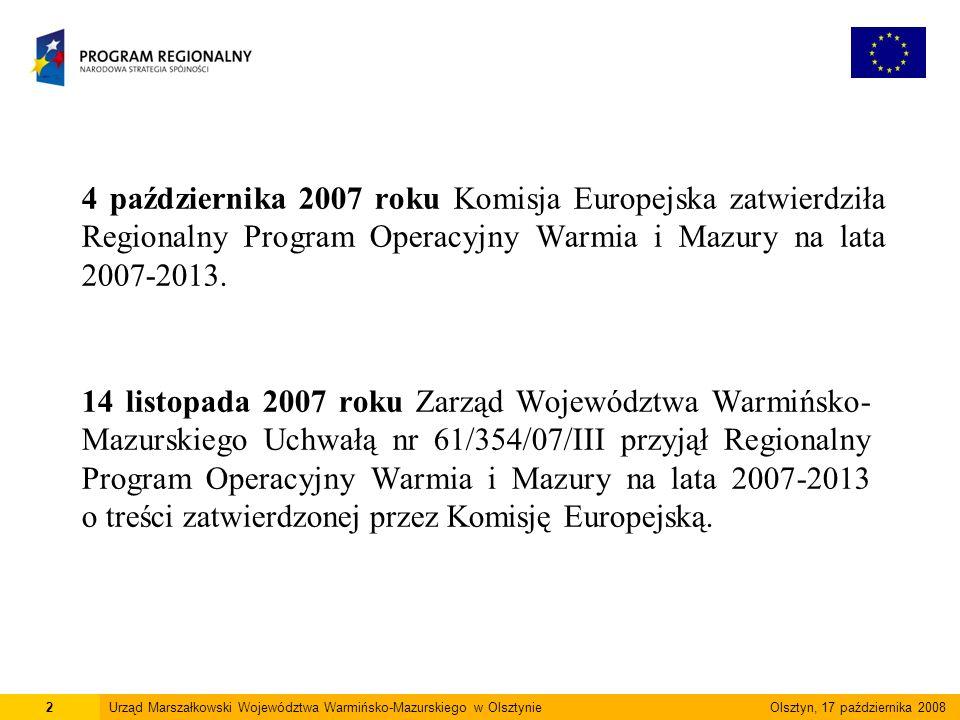 4 października 2007 roku Komisja Europejska zatwierdziła Regionalny Program Operacyjny Warmia i Mazury na lata 2007-2013.