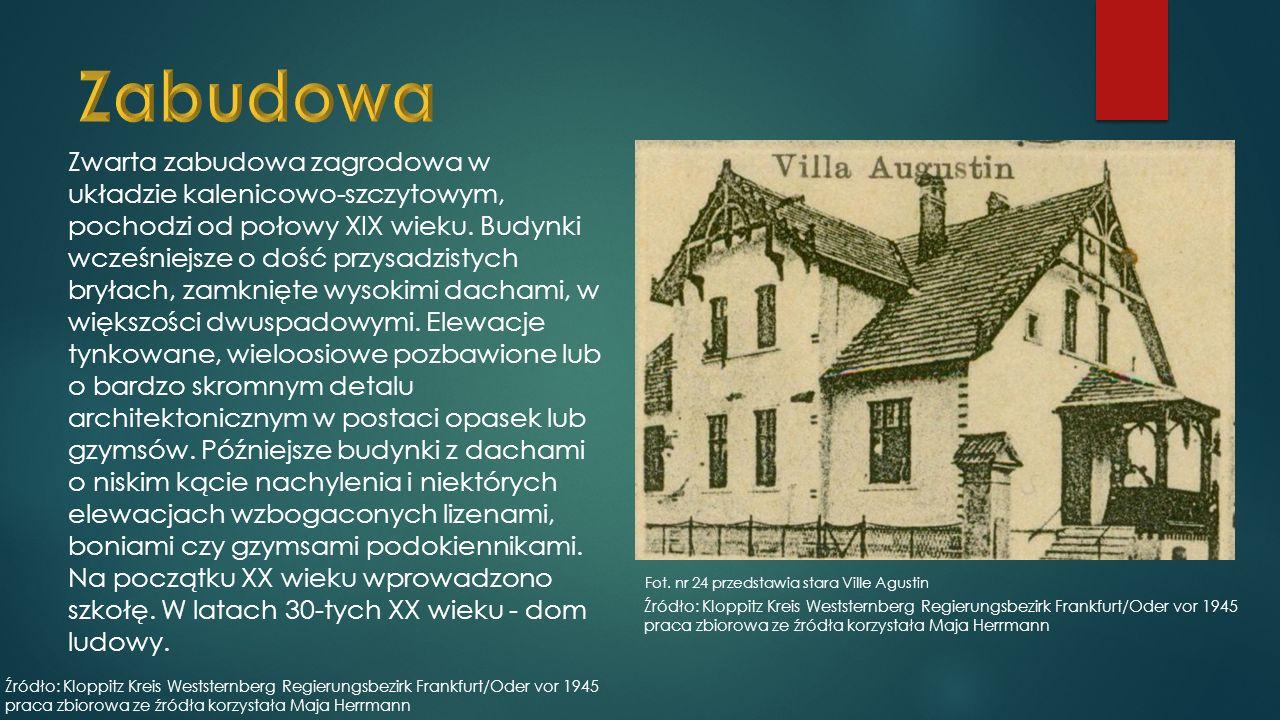 Zwarta zabudowa zagrodowa w układzie kalenicowo-szczytowym, pochodzi od połowy XIX wieku.