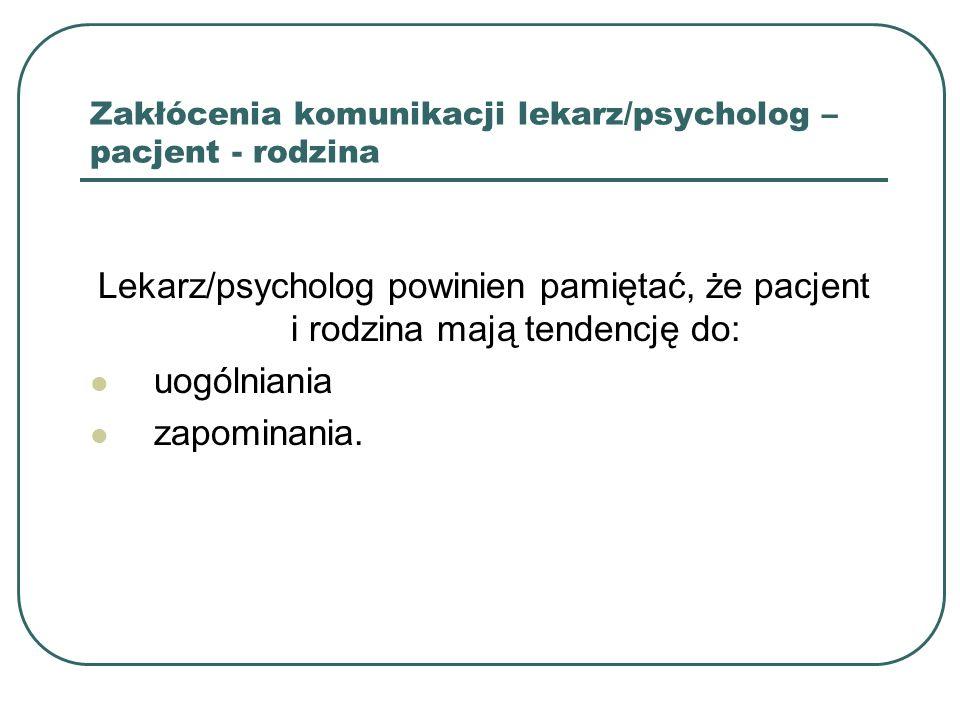 Oczekiwania pacjenta wobec lekarza/psychologa po usłyszeniu złej wiadomości 1.