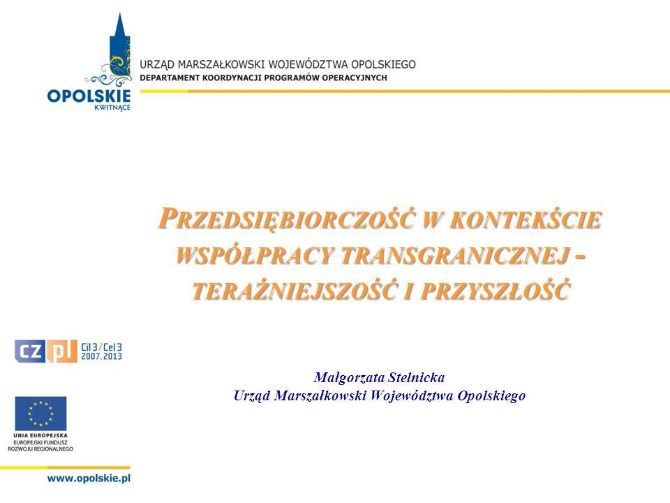 P RZEDSIĘBIORCZOŚĆ W KONTEKŚCIE WSPÓŁPRACY TRANSGRANICZNEJ - TERAŹNIEJSZOŚĆ I PRZYSZŁOŚĆ P RZEDSIĘBIORCZOŚĆ W KONTEKŚCIE WSPÓŁPRACY TRANSGRANICZNEJ - TERAŹNIEJSZOŚĆ I PRZYSZŁOŚĆ Małgorzata Stelnicka Urząd Marszałkowski Województwa Opolskiego Opole, 6 - 7 września 2010 r.