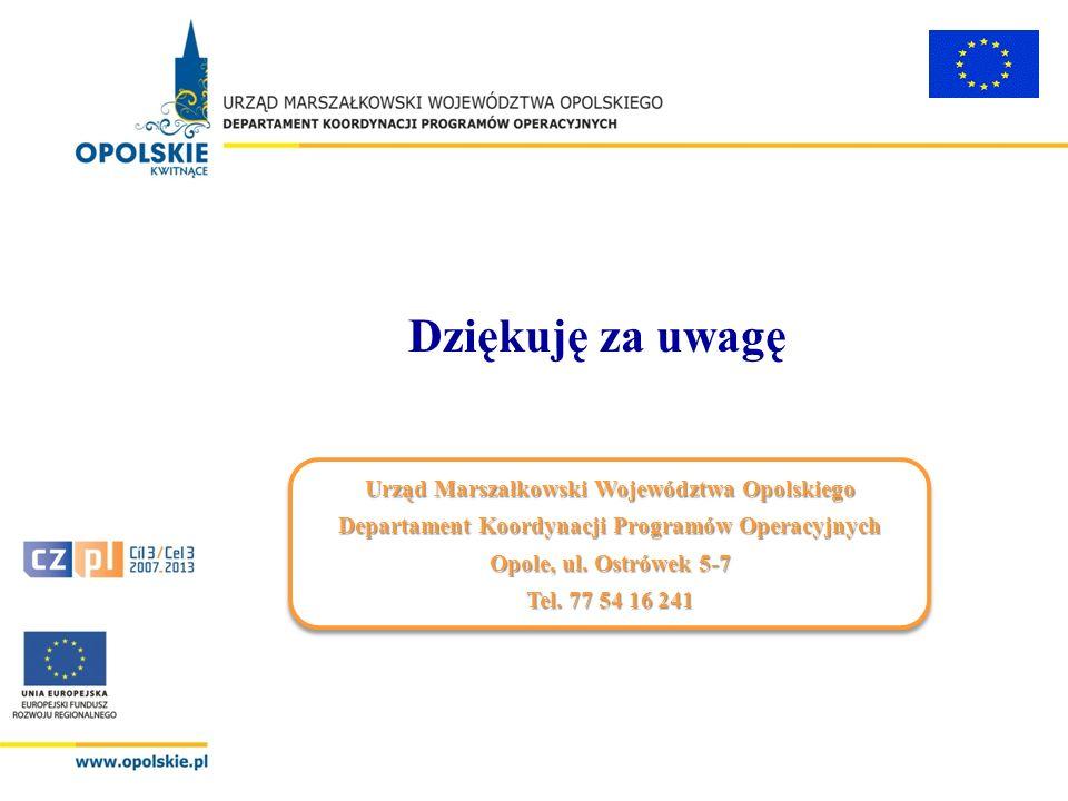 Dziękuję za uwagę Urząd Marszałkowski Województwa Opolskiego Departament Koordynacji Programów Operacyjnych Opole, ul. Ostrówek 5-7 Tel. 77 54 16 241