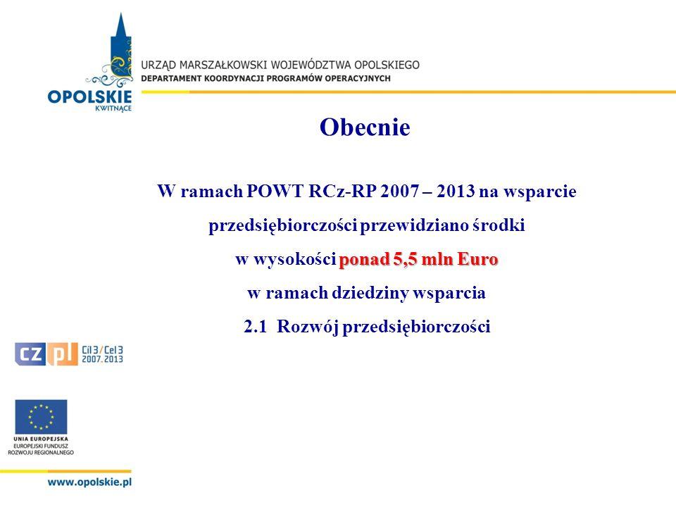 Obecnie ponad 5,5 mln Euro W ramach POWT RCz-RP 2007 – 2013 na wsparcie przedsiębiorczości przewidziano środki w wysokości ponad 5,5 mln Euro w ramach