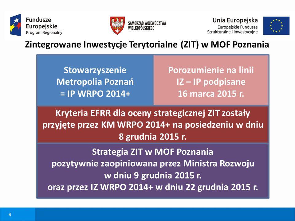 4 Zintegrowane Inwestycje Terytorialne (ZIT) w MOF Poznania Stowarzyszenie Metropolia Poznań = IP WRPO 2014+ Porozumienie na linii IZ – IP podpisane 1