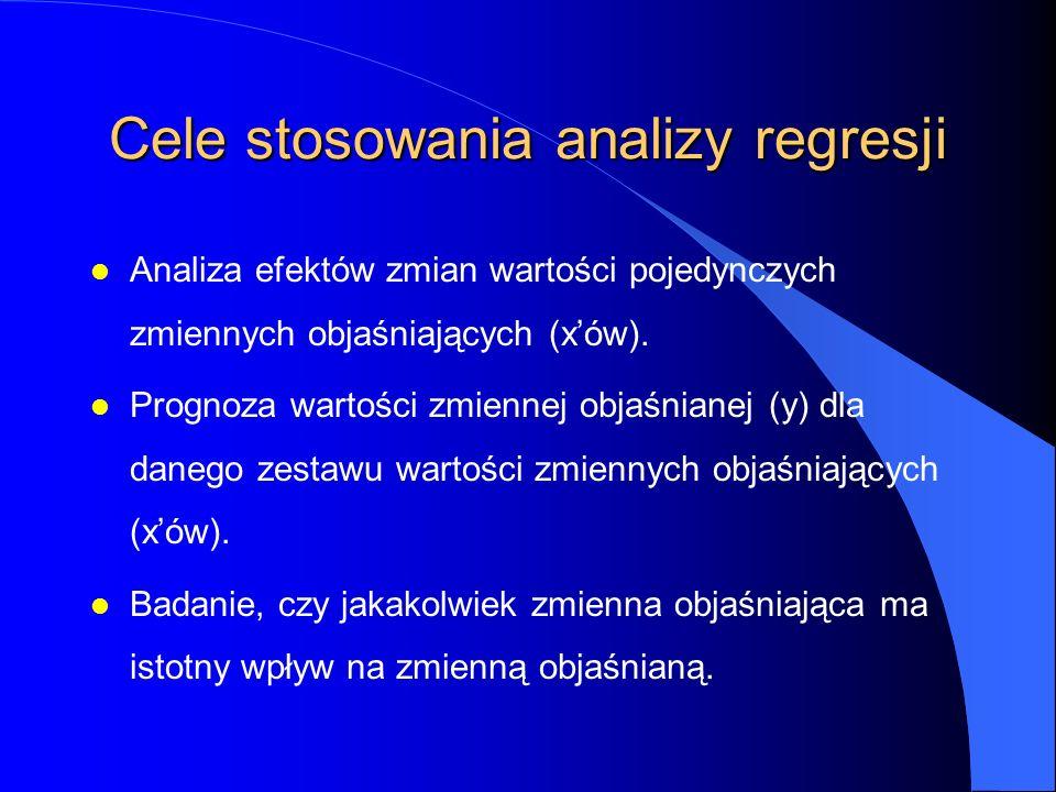 Cele stosowania analizy regresji l Analiza efektów zmian wartości pojedynczych zmiennych objaśniających (x'ów).