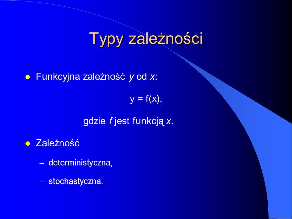 Typy zależności l Funkcyjna zależność y od x: y = f(x), gdzie f jest funkcją x.