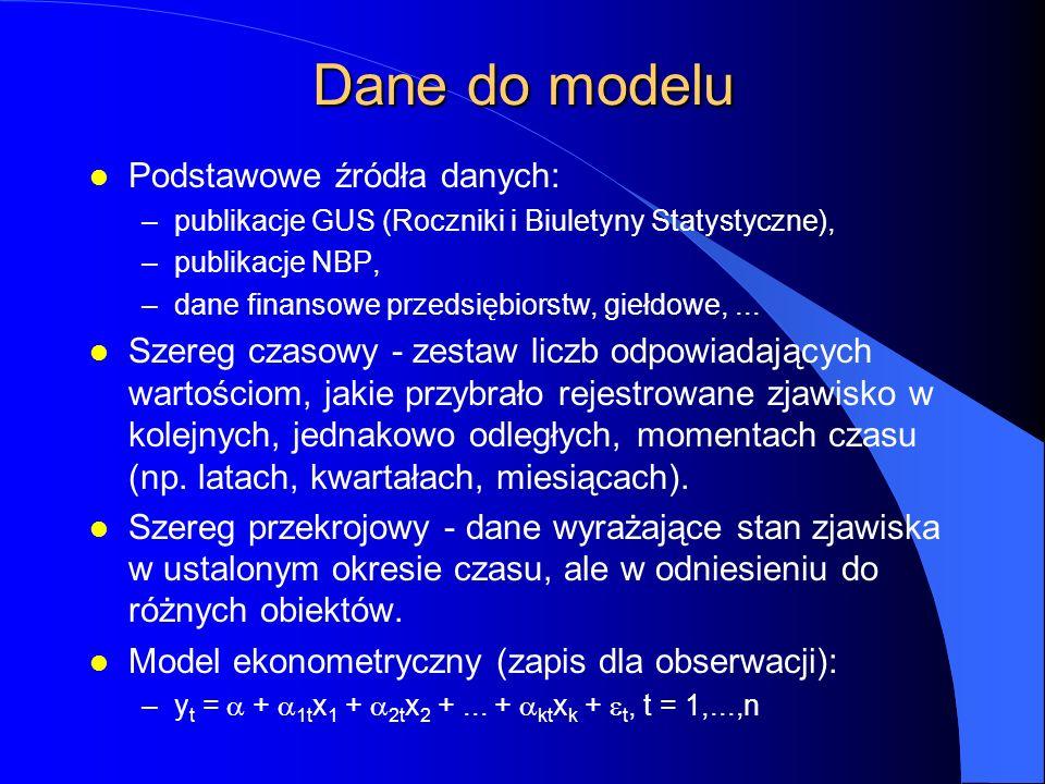 Dane do modelu l Podstawowe źródła danych: –publikacje GUS (Roczniki i Biuletyny Statystyczne), –publikacje NBP, –dane finansowe przedsiębiorstw, giełdowe,...