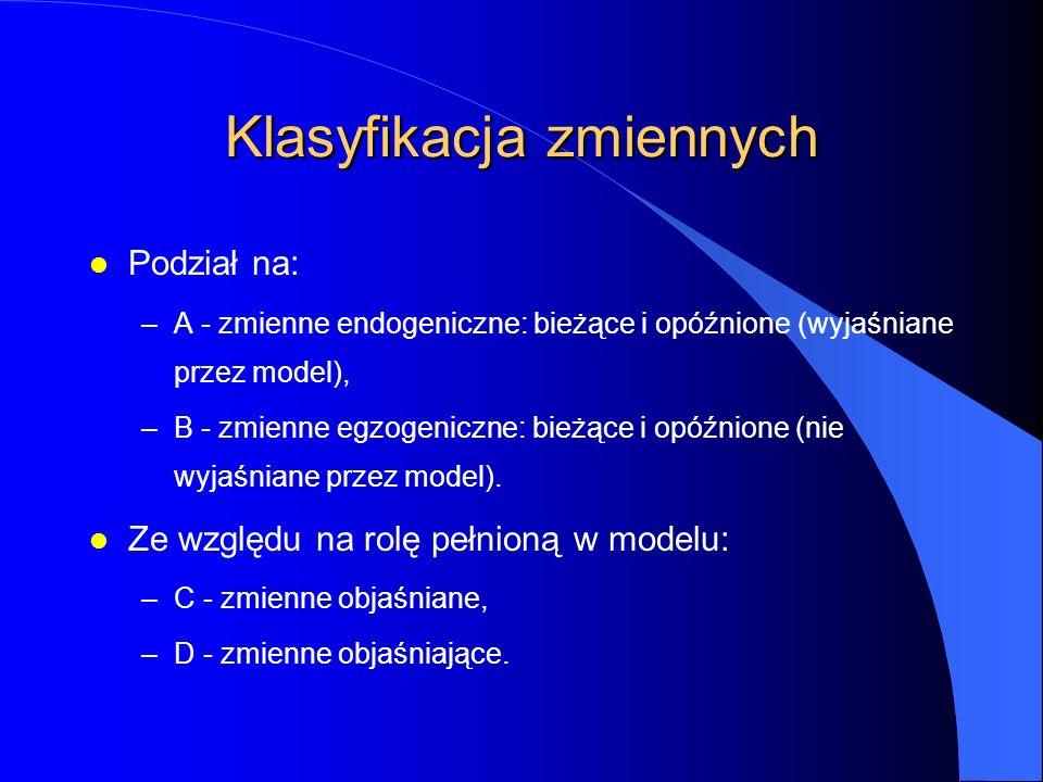 Klasyfikacja zmiennych l Podział na: –A - zmienne endogeniczne: bieżące i opóźnione (wyjaśniane przez model), –B - zmienne egzogeniczne: bieżące i opóźnione (nie wyjaśniane przez model).